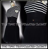 Asos Petite Black White Striped Nautical Corset Stretch Mini Dress Lined UK 8 10