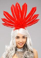 RIO Carnevale Showgirl Copricapo Di Piume Rosso