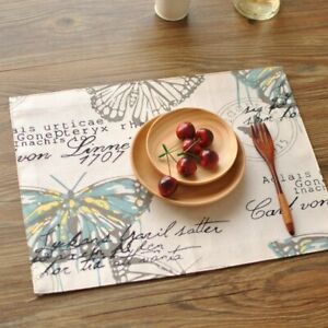 Table Runner American Country Print Butterfly Double Thick Cloth Place Table Mat