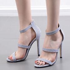 Sandali eleganti tacco stiletto 11 cm righe blu simil pelle eleganti 9793