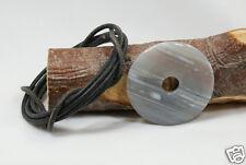 Donut Anhänger ACHAT grau, ca. 40 mm, mit Lederband ! Pischeibe, Pi-Scheibe
