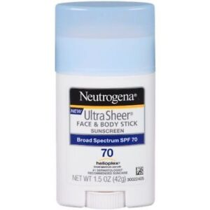 Neutrogena Sunscreen Ultra Sheer Face & Body Stick SPF 70 1.5oz UVA UVB