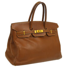HERMES BIRKIN 35 Hand Bag Purse Brown Veau Greine Couchevel ⬜A Vintage S09435
