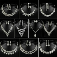 Prom Wedding Party Bride Jewelry Rhinestone Crystal Necklace Earring Pendant Set