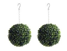 2 Best Artificial 23cm Boxwood Buxus Topiary Balls Grass Plant Hanging Basket