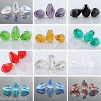 10-100Pcs New Teardrop Faceted Crystal Glass Charms Loose Spacer Beads