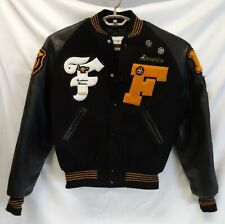 FESTUS HIGH SCHOOL Vintage LETTERMAN JACKET Black & Yellow-Leather & Wool MEDIUM