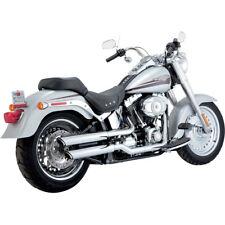 "Vance Hines Chrome 3"" Round Twin Slash Slip-On Exhaust Mufflers Harley FLSTF"