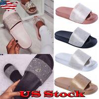 New Women Crystal Jelly Slide Rhinestones Sandal Open Toe Pom Pom Slipper Size
