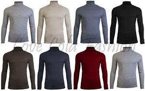 Mens Roll Necks Tops Polo Necks Plain Winter Ski Quality Stretch Jersey Cotton