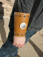 Indian Leather cuffs, wrist protector with conchos