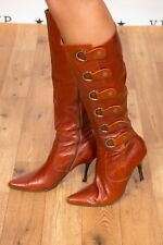 Beautiful  rich chestnut tan brown leather buckle Moda in Pelle knee boots 7