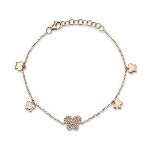Diamond Butterfly Bracelet Charm 14K Rose Gold Pave Natural Round Cut Adjustable