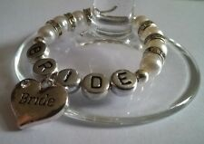 """Personalised """"Bride"""" Wine Glass Charm, Handmade with Diamante Rondelle Spacers"""