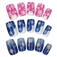 9-hk353 Christmas Snow Snowflakes Snowman Design 3D Nail Art Stickers Decals FG