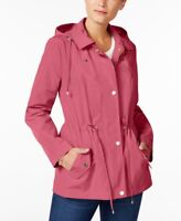 Charter Club Women's Water-Resistant Hooded Anorak Jacket, Pink, Large, $100,NwT