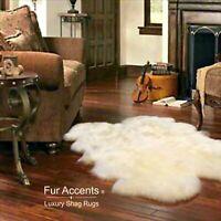 Shag Faux Fur Area Rug, Quatro, Thick, Faux Flokati Sheepskin Pelt, White USA