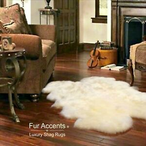 Shag Faux Fur Area Rug, Quatro, Thick, Faux Flokati Sheepskin Pelt, White USA