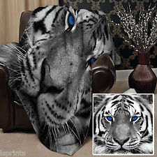 SNOW TIGER BLUE EYE DESIGN SOFT FLEECE BLANKET COVER THROW OVER LARGE CHAIR BED