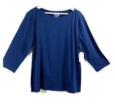 NEW Time and Tru top women's XXL 3/4 sleeve shirt navy (20) 2XL boat neck