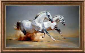 "Hand painted Original Oil Painting art Animal runing horse on canvas 30""x50"""