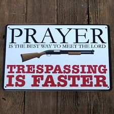 Metal Tin Sign trespassing is faster Bar Pub Home Vintage Retro Poster Cafe Art