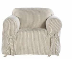 Pair 100% Cotton Armchair Slipcovers Khaki Tan White Stripe Twill Canvas 1-Piece