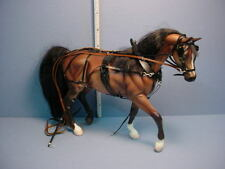 Dollhouse Miniature Light Brown Breyer Horse with Handcrafted Buggy Harness