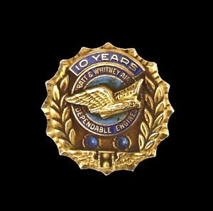 Vintage Pratt & Whitney Aircraft 10K Gold 10 Year Service Award Made By Balfour