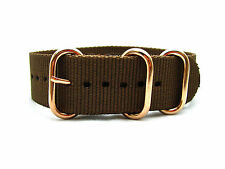 HNS ZULU 18/20/22 Coffee Heavy Diver Nylon Watch Strap Rose Gold Buckle