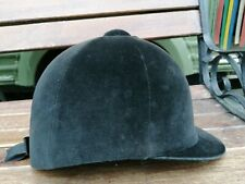 High Quality Black Suede Junior Riding Hat with ribbon on the back (Size 58cms)