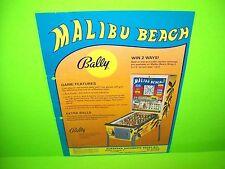 Bally MALIBU BEACH 1980 Original Coin-Op Bingo Pinball Machine Promo Sales Flyer