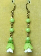 Vintage Art Deco Czech lime green glass flower earrings  to match 30s necklaces