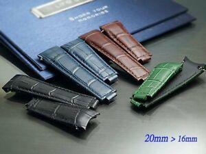 Genuine leather Band Strap Bracelet(FITS) Rolex SUBMARINER 20mm x 16mm curve end