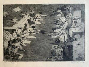 Edward Frederick Ertz RBA 1862-1954 etching A Basque Laundry, Spain c1910