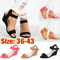 Women Plus Size wedge sandal Casual Solid Color Open Toe Ankle Strap Sandal JR15