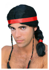 Native American  Brave Wig Blk Braided Ponytail Synthetic Hair Costume Wig