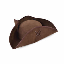 Adult Brown Pirate Tricorn Hat Suede Fabric Fancy Dress Accessory