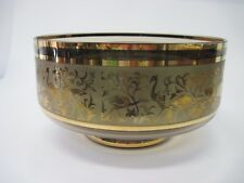 Vintage Mid Century Bohemian Smoked Crystal Gold Salad Bowl Etched Birds Design