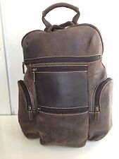 CLAIRE CHASE LAGUNA LAPTOP  BACKPACK SHOULDER BAG BROWN DISTRESSED LEATHER