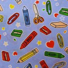 Dusky Blue 100% Cotton Fabric Stationary Print - Crayons - Pencils (Per Metre)