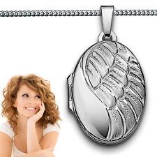 Foto Medaillon Engels Flügel Struktur Amulett Bilder Anhänger Silber 925 & Kette
