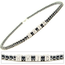 """Accents Kingdom Men's Magnetic Hematite With Round Beads Necklace WWJD 20"""""""