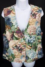 Medium Orvis Floral Cotton Vest Western Vtg 90s Usa 4 Button Blue & Beige