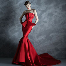 NEW Red Mermaid Train Evening Dresses Quinceanera Formal Prom Party Pageant Gown