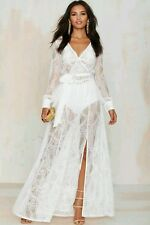 Nastygal One Only White Lace Maxi Dress Sheer Wrap Bachelorette Rehearsal Dinner