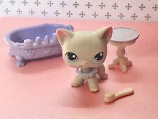 Authentic Littlest Pet Shop # 246 Light Gray Short Hair Cat Blue Eyes Lot Lps