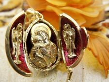 Triple Icon Sterling Silver Gold Egg Pendant Madonna & Child Icon egg Angel WOW