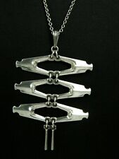 David Andersen Norway 925S Sterling Silver Modernist 3 Tier Pendant w/Necklace