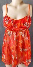 sz M Victoria's Secret Sheer Orange  Leopard Negligee chemise babydoll s30-bb12